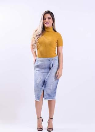 Saia jeans evangelica feminina midi 2210411