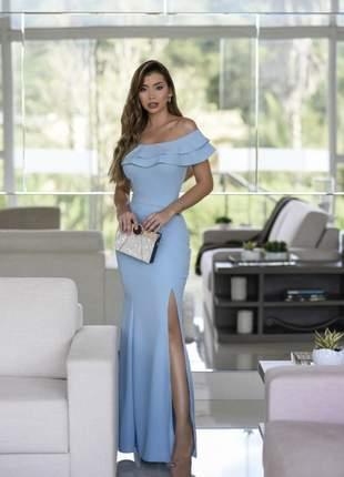 Vestido longo de festa madrinha ombro a ombro sereia c fenda, azul serenity, rosé,marsala