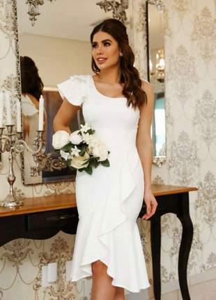 Vestido midi casamento civil branco noivado batizado| aurora