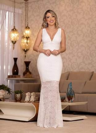 Vestido longo de noiva sereia cartório civil casamento wedding