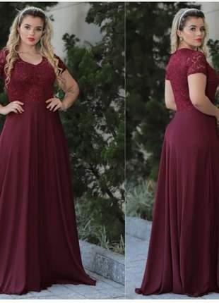 Vestido de festa longo plus size madrinha de casamento formandas p ao eg
