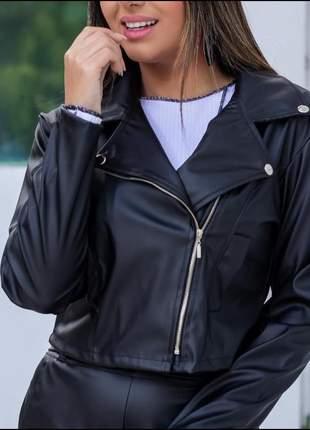 Jaqueta rock couro feminina casaco inverno