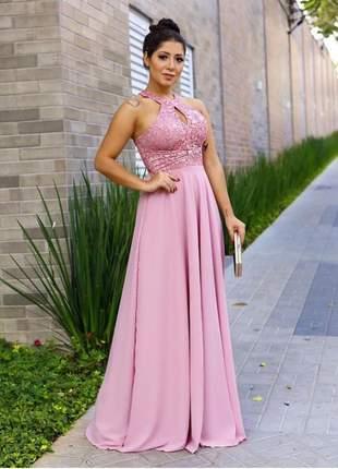 Vestido de festa longo rose rosa claro madrinha casamento formatura