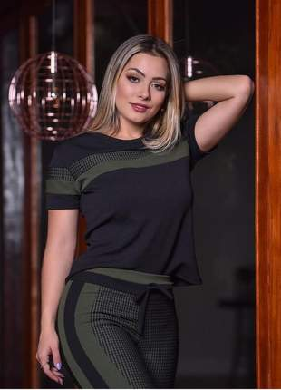 Conjunto de calça e blusa com detalhes em jacquard