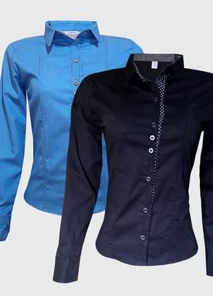 Kit camisa social feminina manga longa jeans preto
