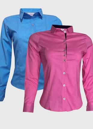 Kit camisa social feminina manga longa jeans rosa