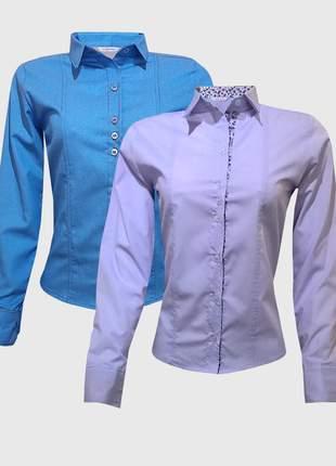 Kit camisas femininas manga longa jeans lilás