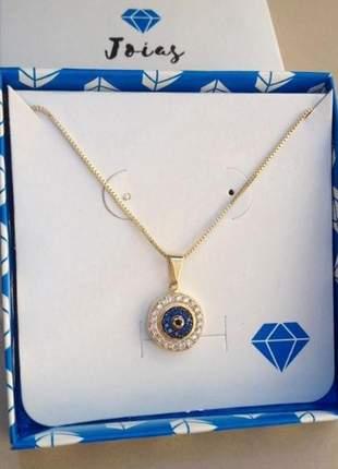 Colar feminino olho grego com pedras folheado a ouro