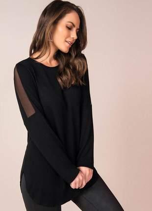 Blusa feminina túnica manga longa com detalhes em tule preto