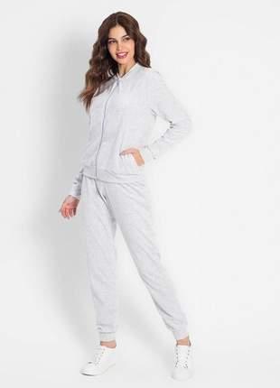Conjunto de inverno feminino em plush com jaqueta e calça agasalho mescla