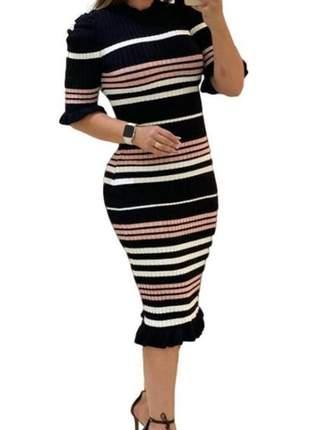 Vestido midi justo babado tricot modal moda evangelica