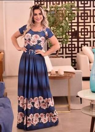 Vestido longo estampado moda comportada evangélico
