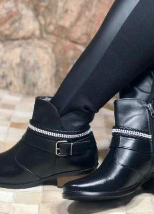Bota botinha cano curto feminina couro legítimo 7010