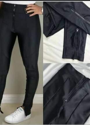 Calça legging  cirre e ziper feminina calça leg