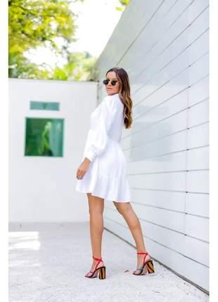 Vestido chamise em viscolinho, manga comprida