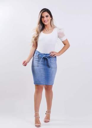Saia jeans evangelica com elastano longuete 2210407