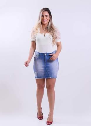 Saia jeans feminina com elastano feminina basica 2210405