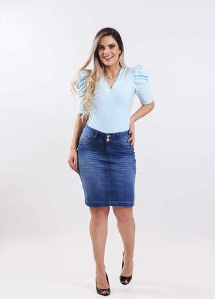 Saia jeans longuete evangelica com elastano 2210404