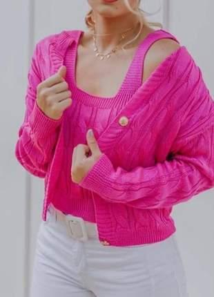 Casaco e regatinha tricô