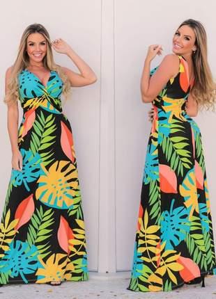 Vestido longo verão estampado de alça
