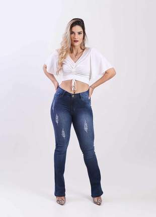 Calca jeans elastano feminina flare alta 2111209