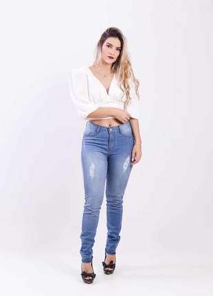 Calca jeans elastano feminina skinny alta 2111210