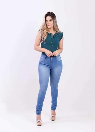 Calca jeans elastano feminina skinny alta 2111212