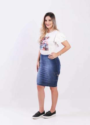 Saia jeans el fem longuete 2111403