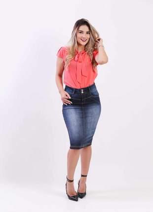 Saia jeans elastano feminina longuete 2111404