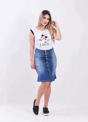 Saia jeans longuete com elastano feminina 2111408