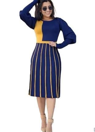 Vestido tricot botão lançamento feminino moldal