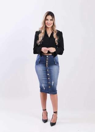 Saia midi jeans com elastano feminina 2111409
