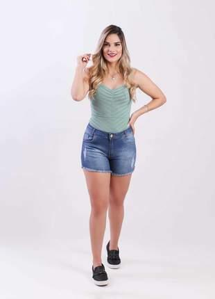 Short jeans com elastano feminino curto alto 2111501