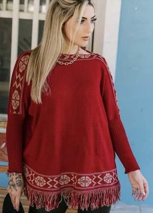 Suéter poncho tricô astoria