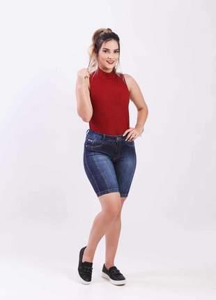 Bermuda jeans com elastano feminina pedal alta 2111603