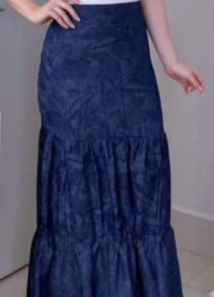 Saia feminina longa jeans