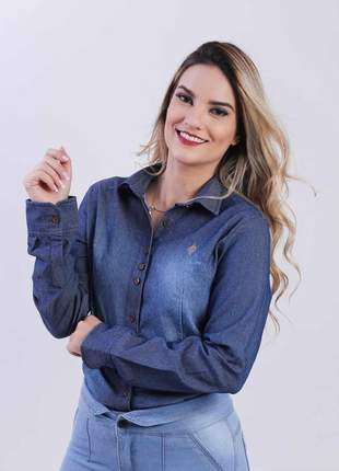 Camisa jeans com elastano feminina  manga longa 2111901
