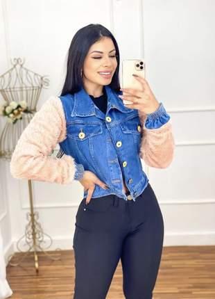 Loucura jaqueta jeans com manga em pelucia e elástico no punho cod.west