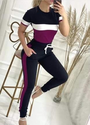 Lindo e confortável conjunto calça e blusinha curta cod.capq