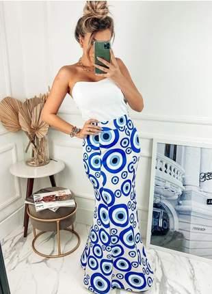 Conjunto de saia longa e cropped modelo olho grego