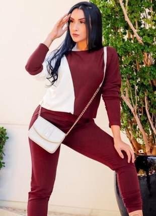 Conjunto feminino bicolor calça e blusa manga longa