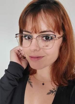Óculos armação para grau em metal gatinho preto com dourado feminino