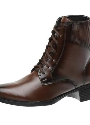 Bota coturno roma shoes cano curto com cadarço salto baixo antiderrapante café