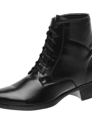Bota coturno roma shoes cano curto com cadarço salto baixo antiderrapante preto
