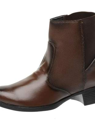 Bota coturno roma shoes cano curto lisa salto baixo antiderrapante café