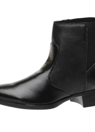 Bota coturno roma shoes cano curto lisa salto baixo antiderrapante preta