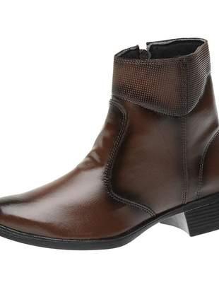 Bota coturno roma shoes cano curto salto baixo antiderrapante café