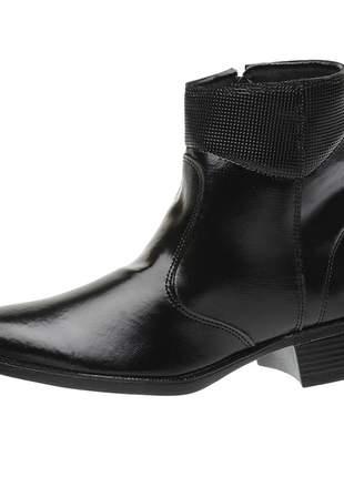 Bota coturno roma shoes cano curto salto baixo antiderrapante preto