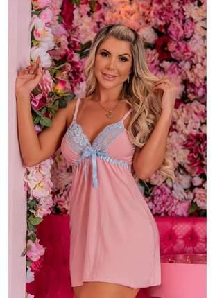 Camisola justa renda curta lingerie rosa 36 ao 44
