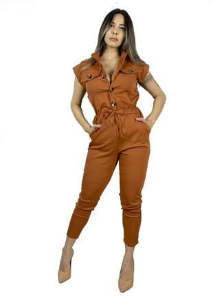 Macacão dress code moda terracota